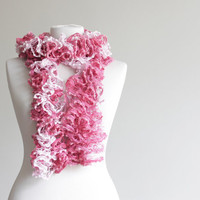 Women knit ruffled scarf, pink, fuschia, spring accessories, long scarf, lariat scarf