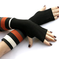 Black and white stripes arm warmers, fingerless gloves, mittens, Hand Warmers , Cuffs , wool, knitted, cotton, urban clothing