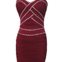 Bordeaux Ruched Mesh Dress with Jewel Embellishment