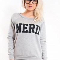 "Grey Long Sleeve Pullover with ""Nerd"" Print Front"