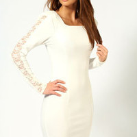 Tilly Lace Insert Long Sleeve Dress