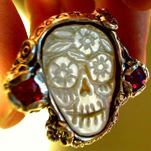 DAY of the DEAD SKULL Wedding ring carved sugar skull by RXVrings