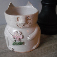cat nip Pottery Cat planter ... handmade ... kitty