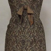 Wonderful Brown Cellophane Embroidered Lace 1960&#x27;s Sarmi Cocktail Dress VINTAGEOUS VINTAGE CLOTHING