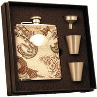 "Visol ""Floral"" Paisley Pattern 6 oz Deluxe Flask Gift Set"
