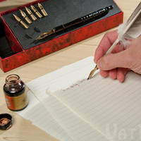 Feather Pen Set: Feather quill, wood pen, metal nibs, and ink