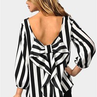 Waldorf Bow Blouse - Thick Black/White
