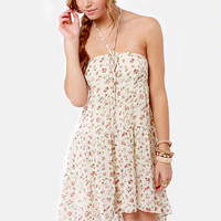 Rosette for Life Cream Floral Print Dress