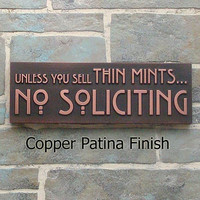 $85.00 Thin Mints No Soliciting Sign Thin Mint Cookies Girl by AtlasSigns