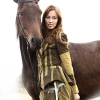 Equestrian style Jacket Handmade Romantic Civil War Khaki Green cotton fashion Wear Featured In Belle Armoire magazine winter 2013