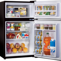 Compact Mini Fridge w/ Top Freezer ~ Retro Dorm Food Ice & Beverage Refrigerator