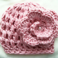 Pink Newborn/Baby Girl Hat on Etsy READY TO by ByTheLakeCrochet