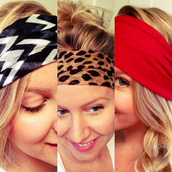 As Seen On Brickyard Buffalo Yoga Hipster Scarf Head Wrap  Black White Leopard Chevron Red Polka Stretch Non-Marking DOLLAR SHIPPING in US