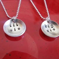 custom silver little sister big sister necklace