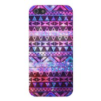 Girly Andes Aztec Pattern Pink Teal Nebula Galaxy iPhone 5 Case from Zazzle.com