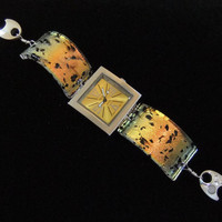 Fused Glass Watch Dichroic Trendz Quartz watch Gold Yellow and Black with sterling magnetic clasp  - W104