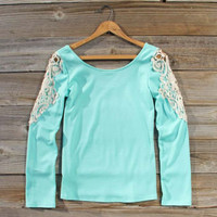 Fireside Lace Tee in Mint, Sweet Bohemian Tops