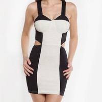 Cut-out Bodycon Dress Ivory/Black  Tanny&#x27;s Couture LLC