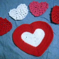 Handmade Crochet Heart Placemats and Heart Coasters Set