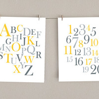 Yellow & Gray Nursery Art - Alphabet and Numbers Print Set, 11x14 (2)