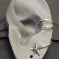 Sterling Star EAR CUFF -   STARFISH  Silver Ear Cuff