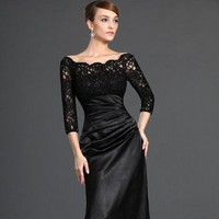 Black Lace Evening Gown By Svetlana