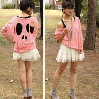 Pink Skull Cut-Out Sweatshirt - M