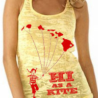 Women's Burnout Tank Hawaii Kite Yellow S M L XL by stickyrainbows