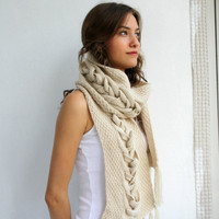 Free SHIPPING Beige Wool Special Design By DenizGunes Knit  Scarf Perfect Gift Under 75 For Women For Girl Friend Valentines Day Gift
