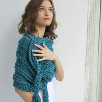 Free SHIPPING Teal  Scarf Shawl  Christmas gift  UNDER 75USD For Her
