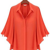 Orange Half Batwing Sleeve Single Breasted Shirt S009938