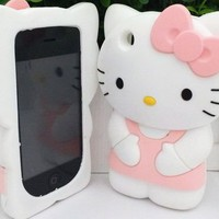 3D Cute Kitty Cat Rubber Soft Gel Skin Case For iPhone 3 3G 3GS Baby Pink MSC395