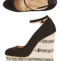 Boutique 1 - CHARLOTTE OLYMPIA - Black Serenade Music Note Wedge Shoes | Boutique1.com