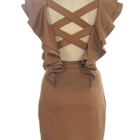 Mocha Ruffled Dress