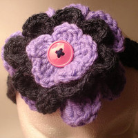 Crochet Headband with Flower in Navy and Lavender