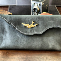 Oxford Black Leather Clutch with Gold Swallow by DivinaDenuevo