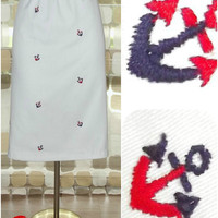 Vintage 70s Nautical Embroidered Anchors Skirt Sailor Cruise S/M/L 80s VLV