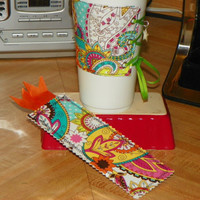 Bright Fun Paisley Colorful Coffee Corset Cozy by NorthwoodsWhimsy