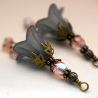 2 Piece Frosted Gray Lucite Flower with Pale Pink AB Czech and Brass Bead Drop Dangle Set