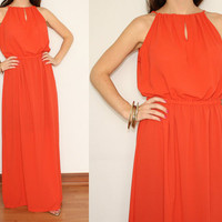 Chiffon Maxi Dress Long Summer Keyhole dress in Orange Coral for Women