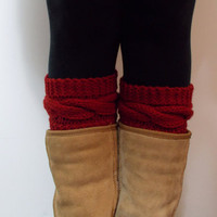 Hand Knitted Cable Boot Cuffs in RED