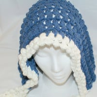 Blue Gnome Hat, Blue Pixie Hood, Womens Elf Cap, Hobbit Hat, Goblin Hood, Reaper Hood, Crochet Pixie Hat, Faery Hat, Fantasy Hat, Elf Hat