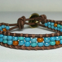 Turquoise and Topaz Seed Bead Wrap by Jennasjewelrydesign on Etsy