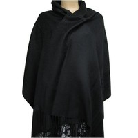 Premium Solid Color Pashmina Shawl Wrap Stole Scarf - Black