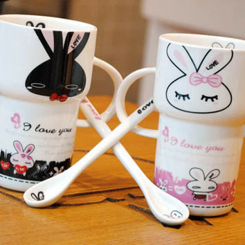 I Love You Rabbit Matching Couple Ceramic Cup - GULLEI.COM