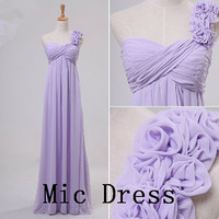 One-shoulder sleeveless floor-length chiffon with handmade flowers long prom/Evening/Party/Homecoming/cocktail /Bridesmaid/Formal Dress