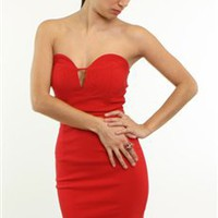 Red Strapless Party Dress- Strapless Dresses- $45.99
