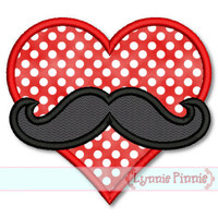 HEART with MOUSTACHE Applique 4x4 5x7 6x10 7x11 SVG  Machine Embroidery Design Valentine's Day
