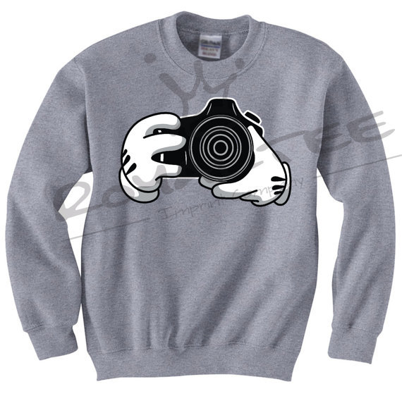 mickey hands camera crewneck sweater from taylorfit on etsy