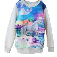 Space galaxy horse print Sweatshirt kawaii
